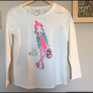 The Children's Place White Embellished LS T-Shirt